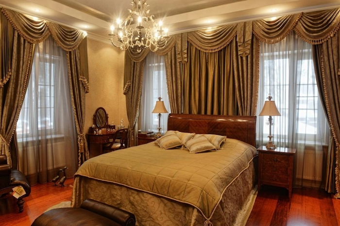 Австрийские элитные шторы в спальню на заказ