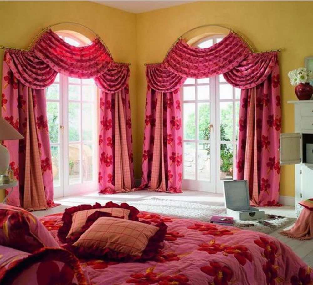 Шторы для спальни на арочные окна