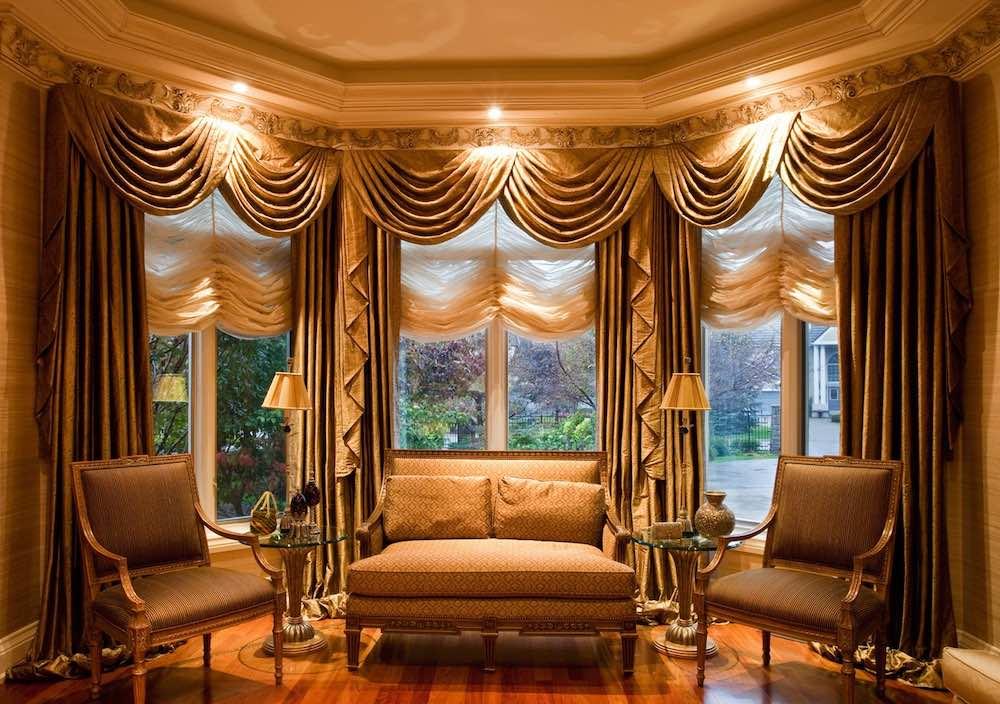 Виды штор на эркерные окна