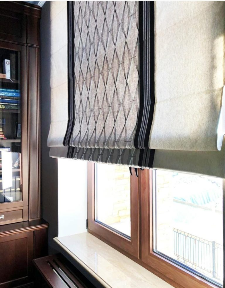 красивые римские шторы в интерьере на заказ